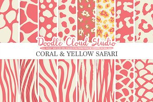 Coral & Yellow Animal Safari digital