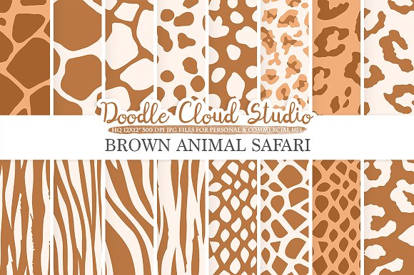Brown Animal Safari Digital Paper