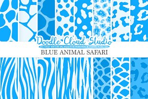 Blue Animal Safari digital paper