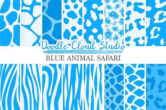 Blue Animal Safari digital paper