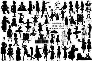 Girl Silhouettes AI EPS PNG