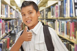 Hispanic Boy,  Backpack at Library