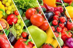 collection fresh fruits and vegetabl