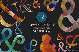 Watercolor Ampersand Vector clipart