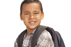 School Boy with Backpack on White