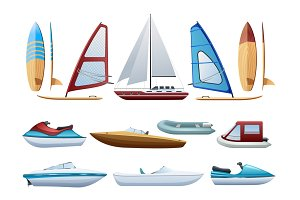 Boats and windsurfer icons set