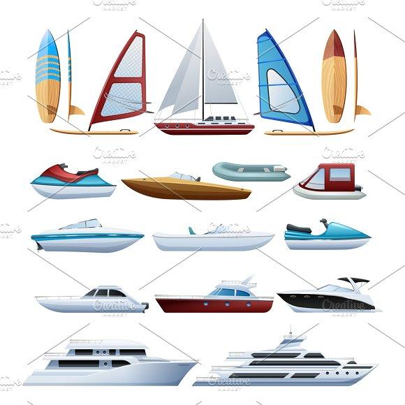 Boats And Windsurfer Icons Set