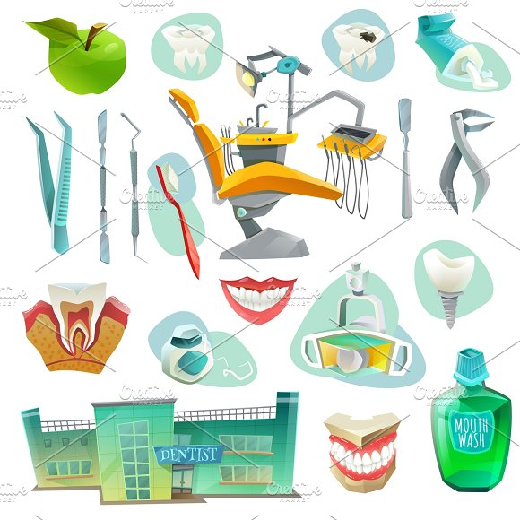 Dental office icons set in Graphics