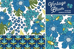 Vintage Blues Floral Patterns
