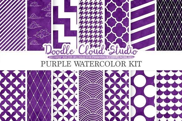Purple Watercolor Digital Paper