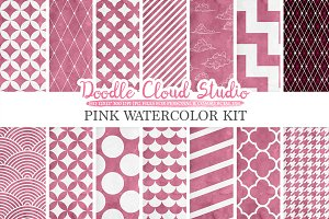 Pink Watercolor digital paper