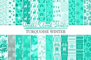 Turquoise Winter digital paper