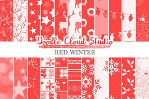 Red Winter digital paper