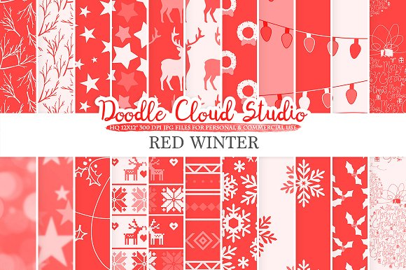 Red Winter Digital Paper