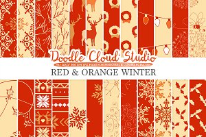 Red and Orange Winter digital paper