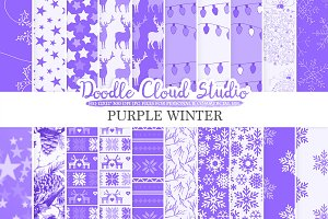 Purple Winter digital paper