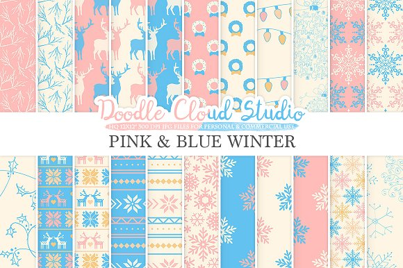Pink And Blue Winter Digital Paper