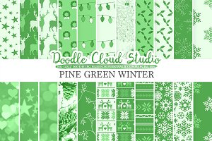 Pine Green Winter digital paper