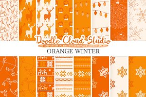 Orange Winter digital paper