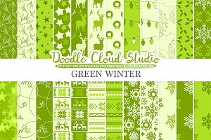 Green Winter digital paper