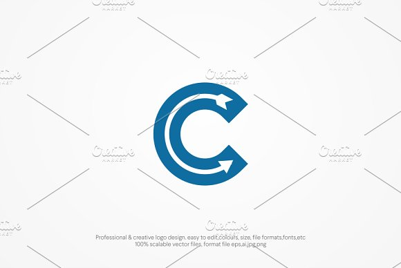 C letter Arrow Logo template