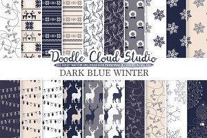 Dark Navy Blue Cream Gray Winter