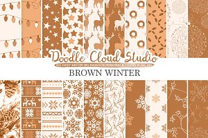 Brown Winter digital paper