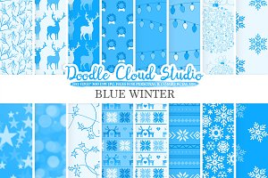 Blue Winter digital paper