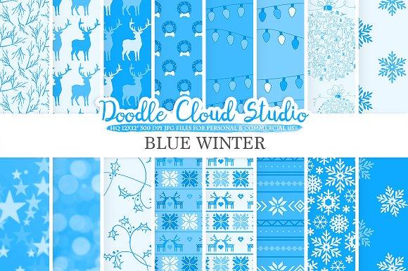 Blue Winter Digital Paper