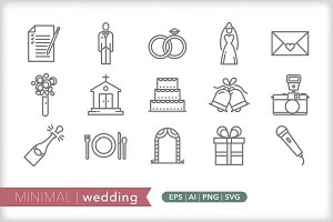 Minimal wedding icons