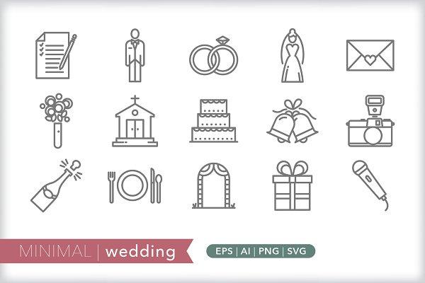Minimal wedding icons