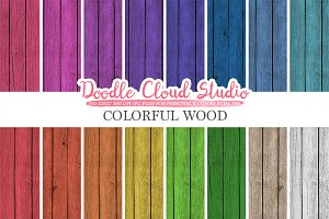 Colorful Real Wood digital paper