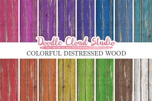 Colorful Distressed Wood digital