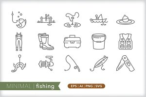 Minimal fishing icons