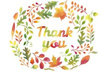 """Thank you"" in autumn leaves wreath"