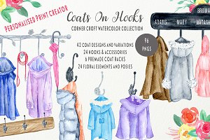 Watercolor Coats and Hooks