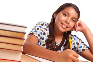 Hispanic Girl Studying on White