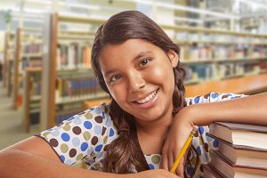 Girl Student with In Library