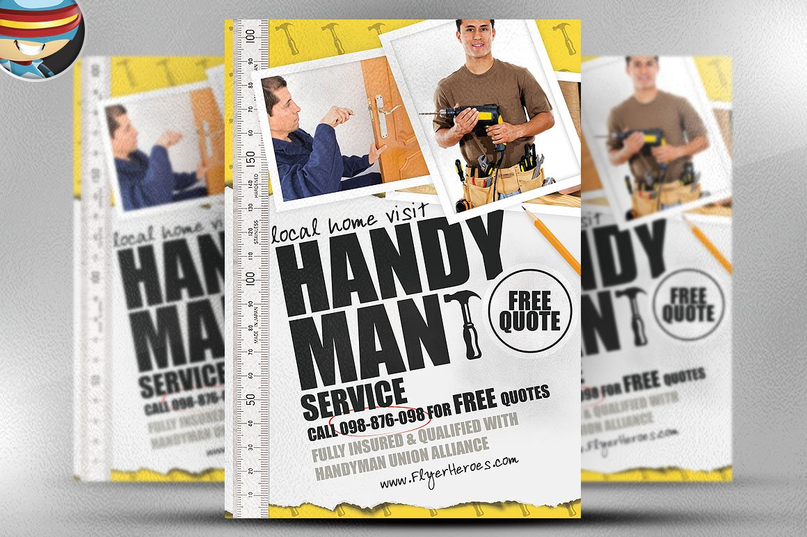 handyman flyer template flyer templates creative market. Black Bedroom Furniture Sets. Home Design Ideas