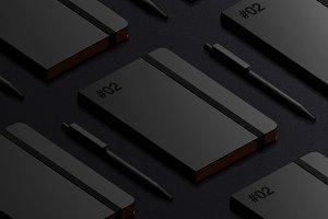 Black Isometric Notebook Mockup
