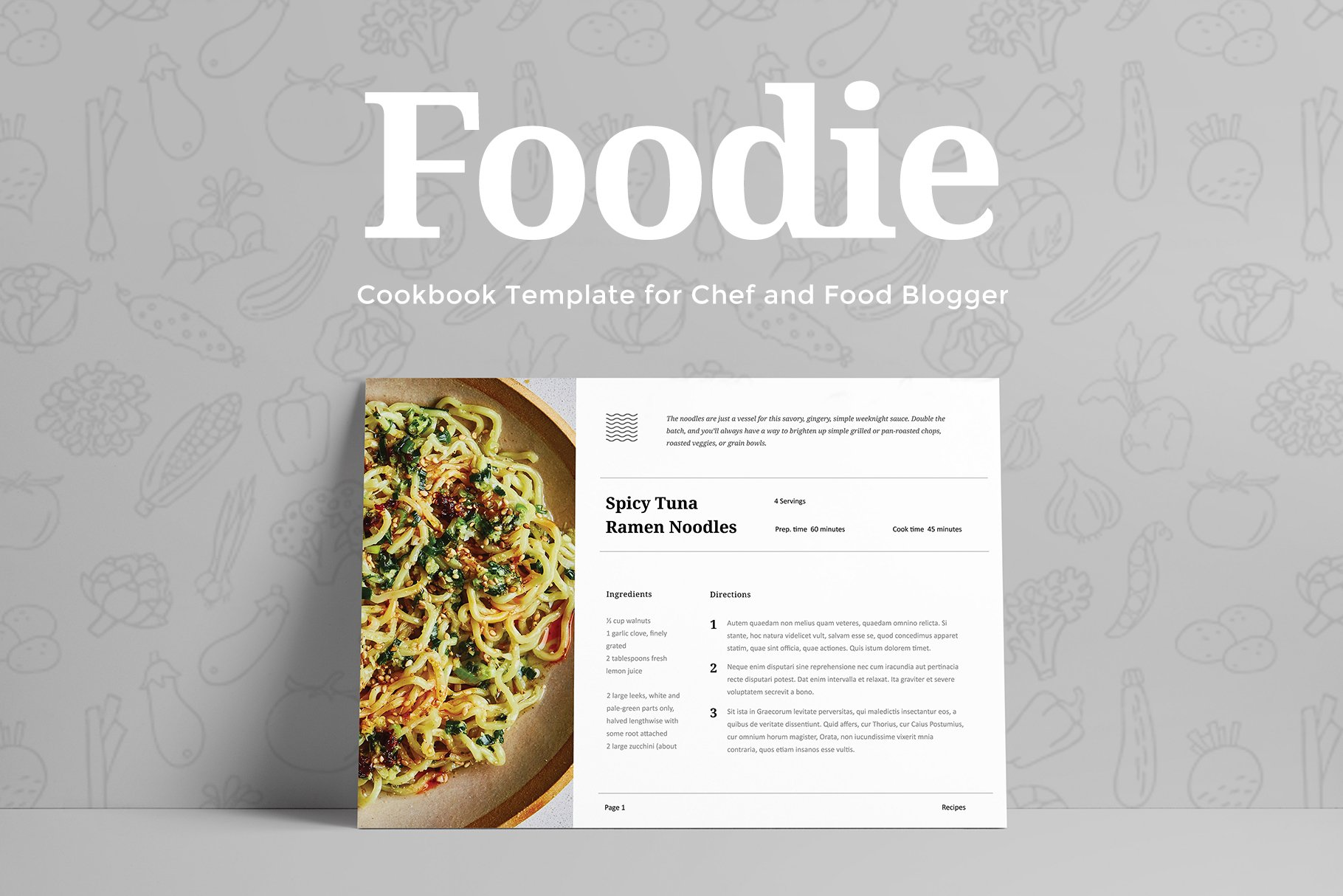 foodie cookbook template presentation templates creative market