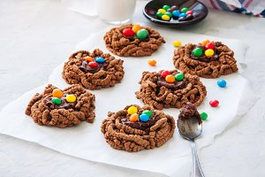 Chocolate cookies with candies