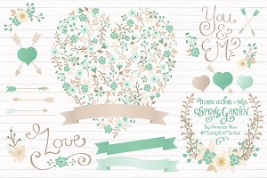 Mint Floral Heart & Banner Vectors