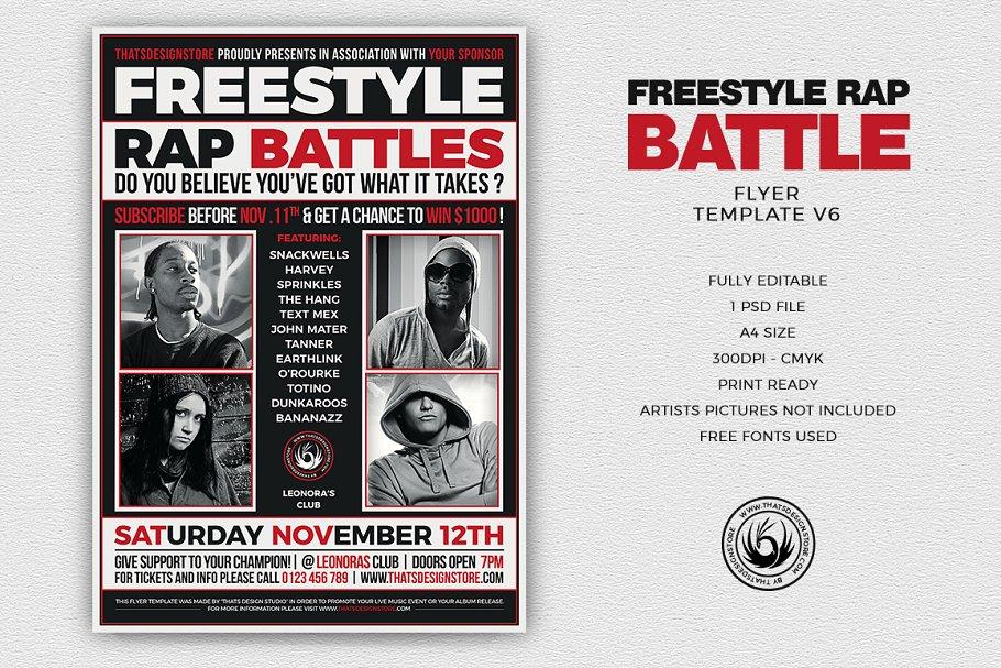 Freestyle Rap Battle Flyer PSD V6 - Flyer Templates | Creative ...