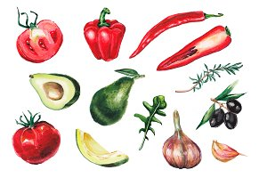 Watercolor vegetables collection