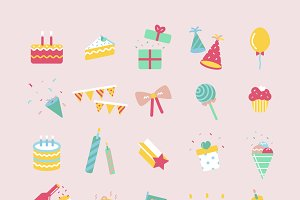Illustration set of birthday party