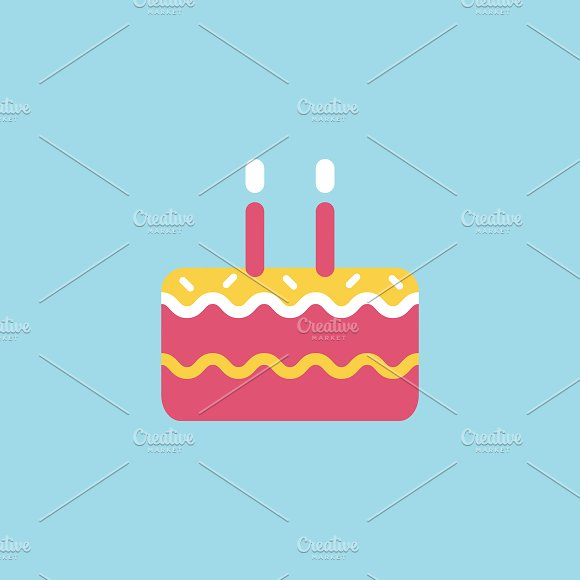 Illustration Of Birthday Cake Icon