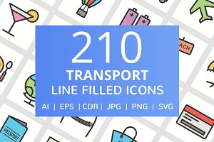 210 Transport Filled Line Icons