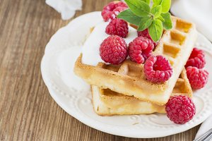 Golden homemade fresh waffles for br