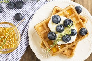 Homemade fresh crispy waffles for br